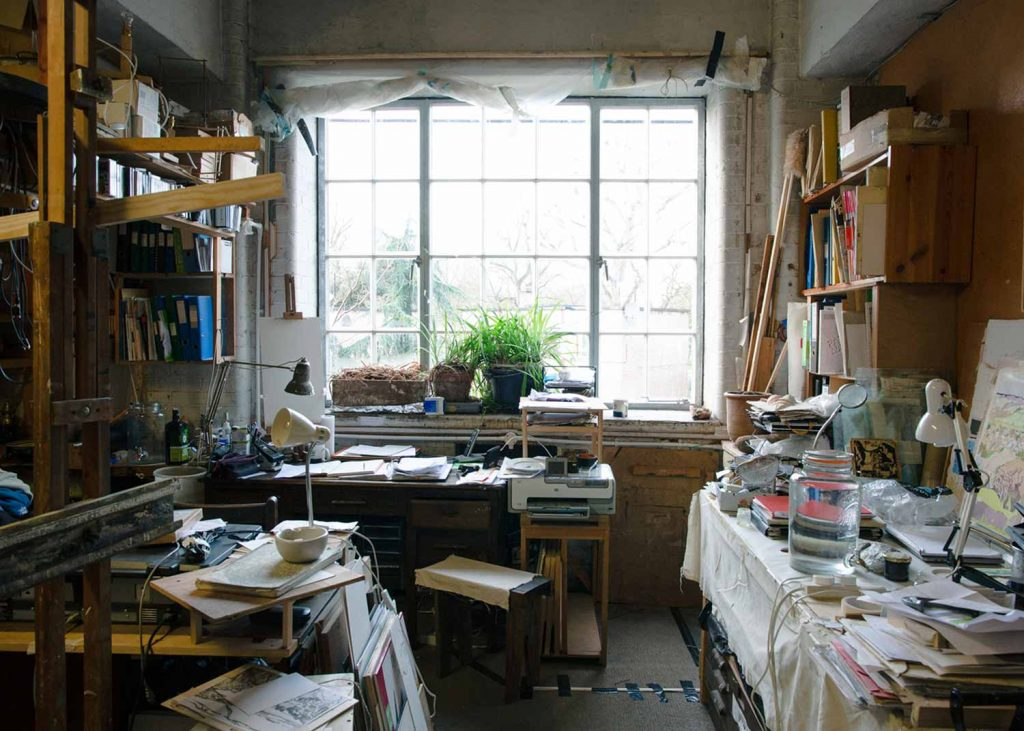 Jon George's studio overlooking Hertford Union Canal, Chisenhale Arts