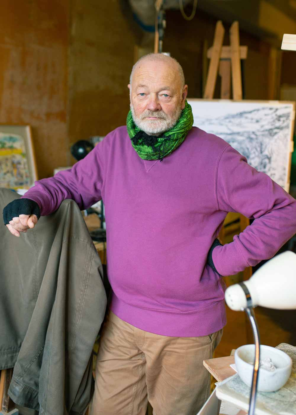 Jon George standing in his studio, Chisenhale Arts, Bow
