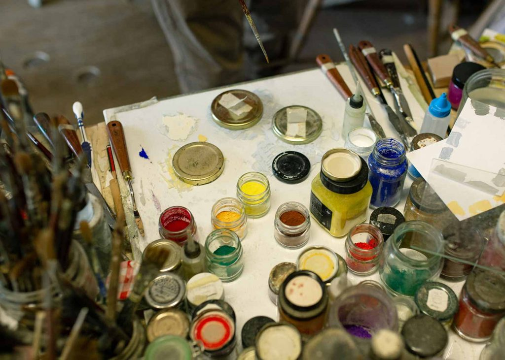 Paints at Jon George's studio, Chisenhale Arts