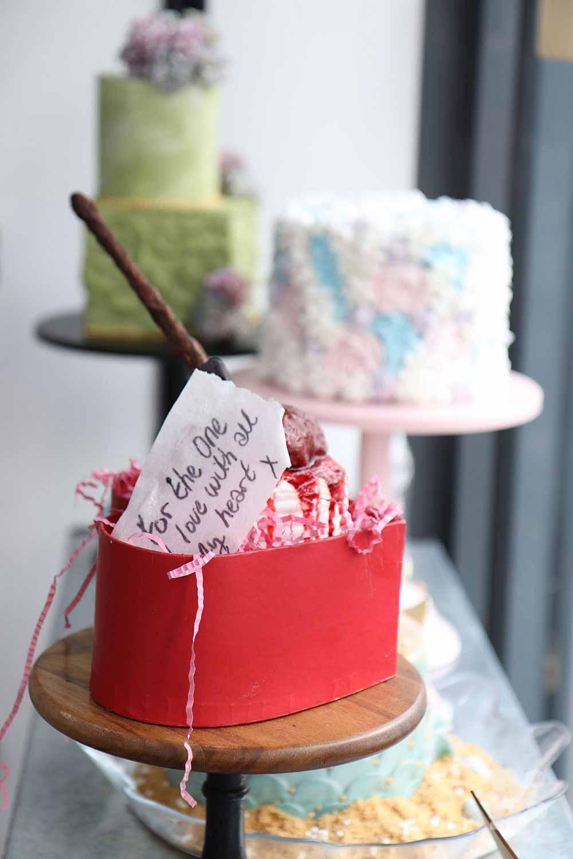 Bespoke cake creations made by David Amoateng at Mama Mae cake shop on Roman Road.