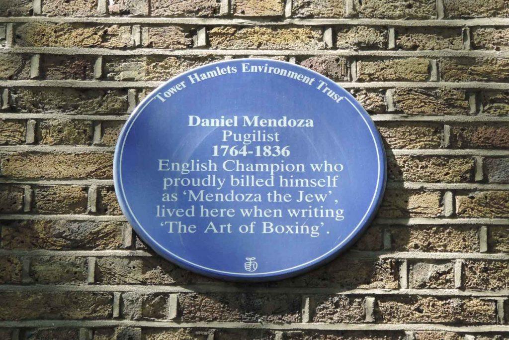 Daniel Mendoza blue plaque at Paradise Gardens in Bethnal Green