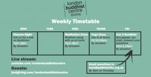 London Buddhist Centre weekly timetable of online classes