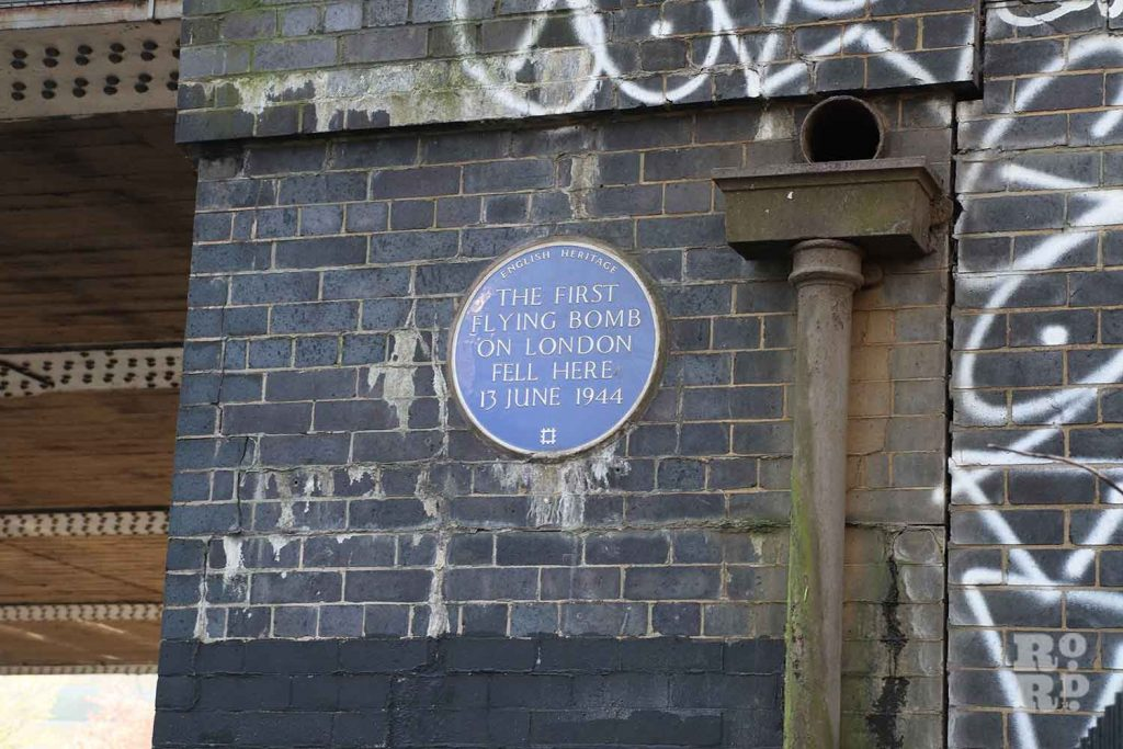 Blue Plaque where the first flying bomb fell, Mile End Park, London