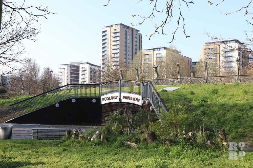 Ecology Pavilion, bermed building, Mile End Park, London