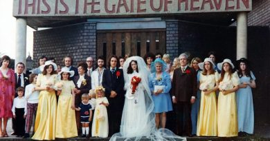 Wedding photo outside St Pauls Bow Common 1974.