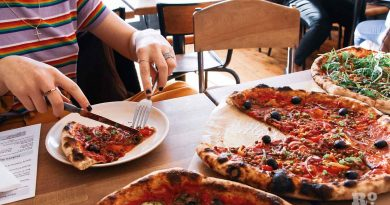 Eating a pizza at The Pizza Room, Mile End, East London