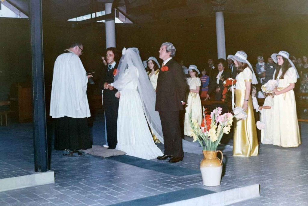 Bride and groom at the alter, St Pauls Bow Common 1974.