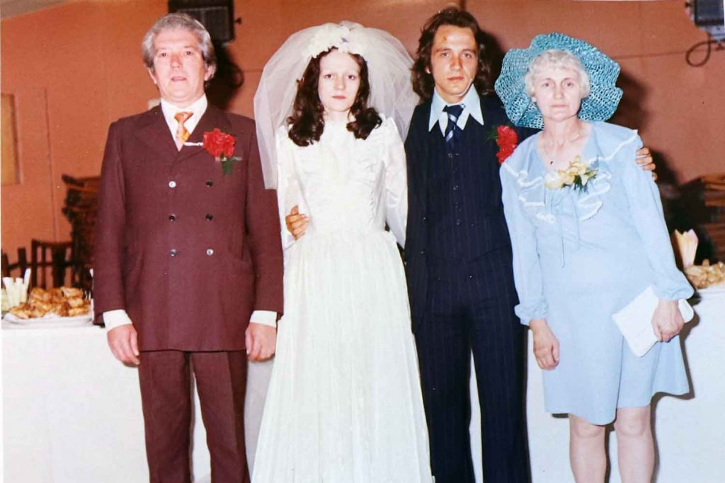 Bride, groom and parents at St Pauls Bow Common 1974.
