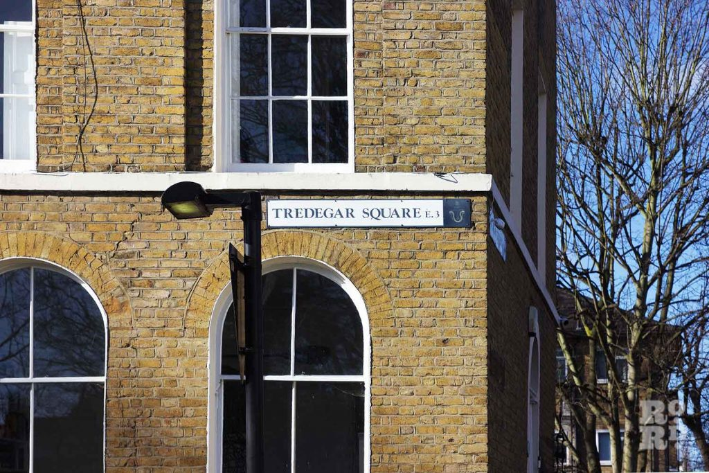Street sign, Tredegar Square, Mile End, East London