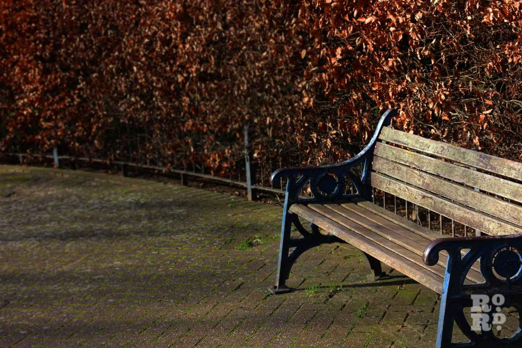 Bench in Tredegar Square, Mile End, East London