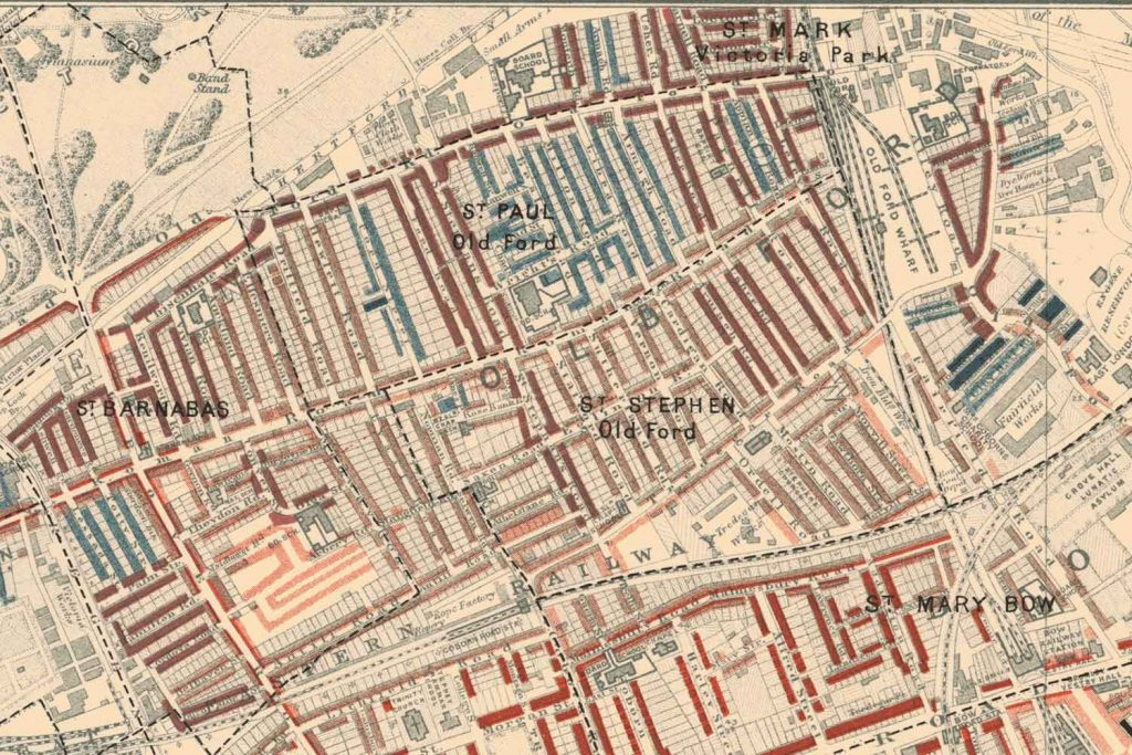 Roman Road Bow poverty map, 1898, Charles Booth.