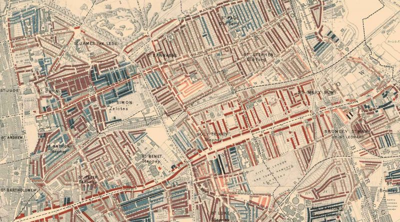 Bow, Globe Town, Stepney and Bromley-by-Bow poverty map, 1898, Charles Booth.