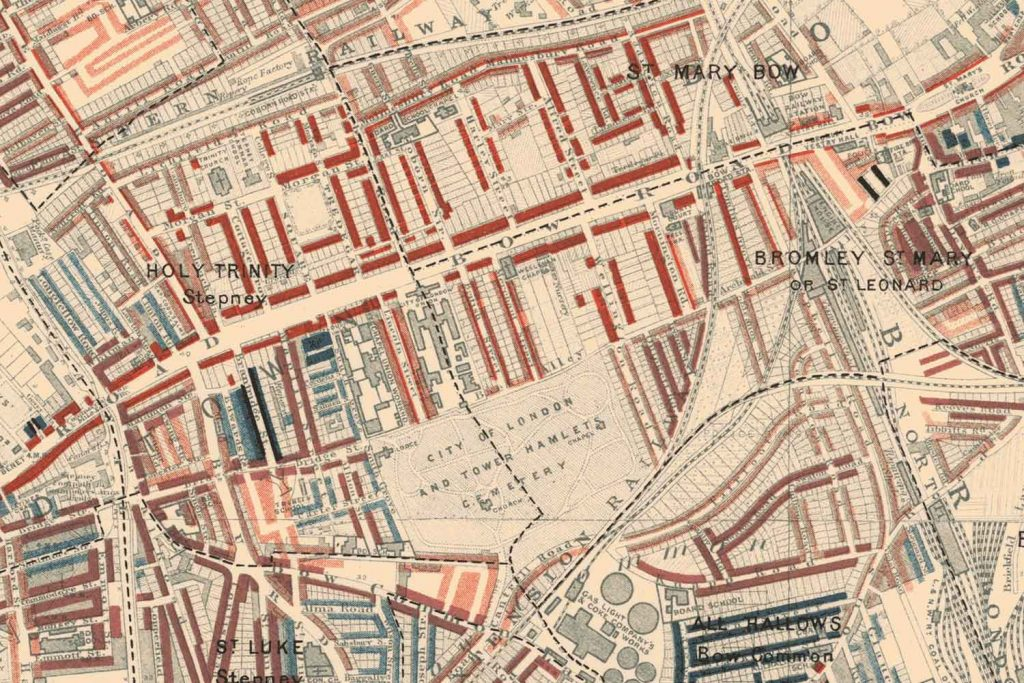Mile End and Bromley-by-Bow poverty map, 1898, Charles Booth.
