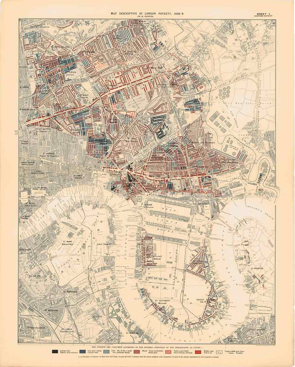 Eastern Area poverty map, 1898, Charles Booth.