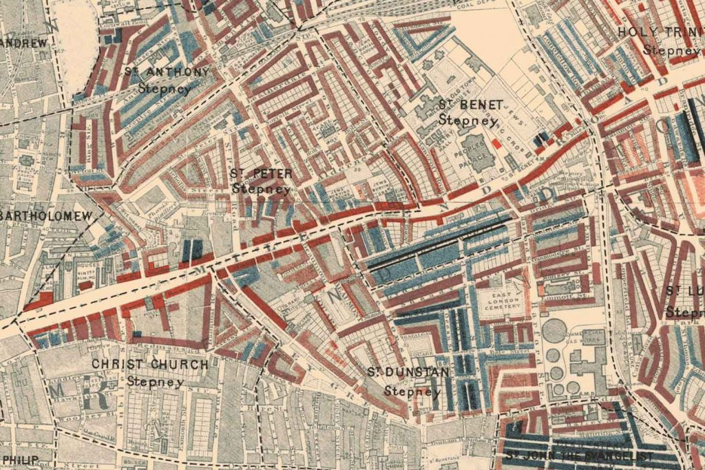 Stepney poverty map from 1898, Charles Booth.