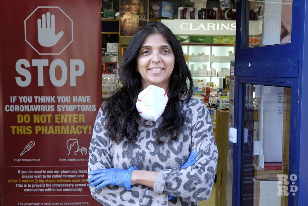 Tina Patel, owners of Massingham Chemist, Roman Road, East London