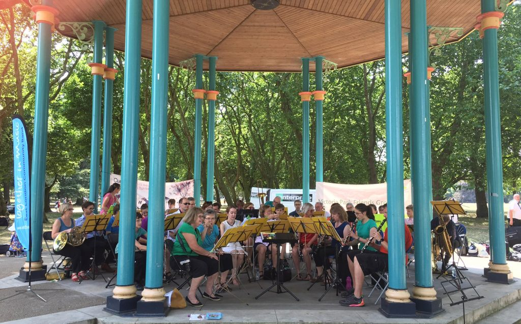 East London Community Band performing at Victoria Park bandstand