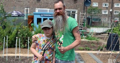Allotment song artist, Paul Baxter with son Hercules