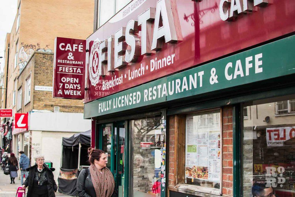 Shopfront, Fiesta Cafe on Roman Road, East London