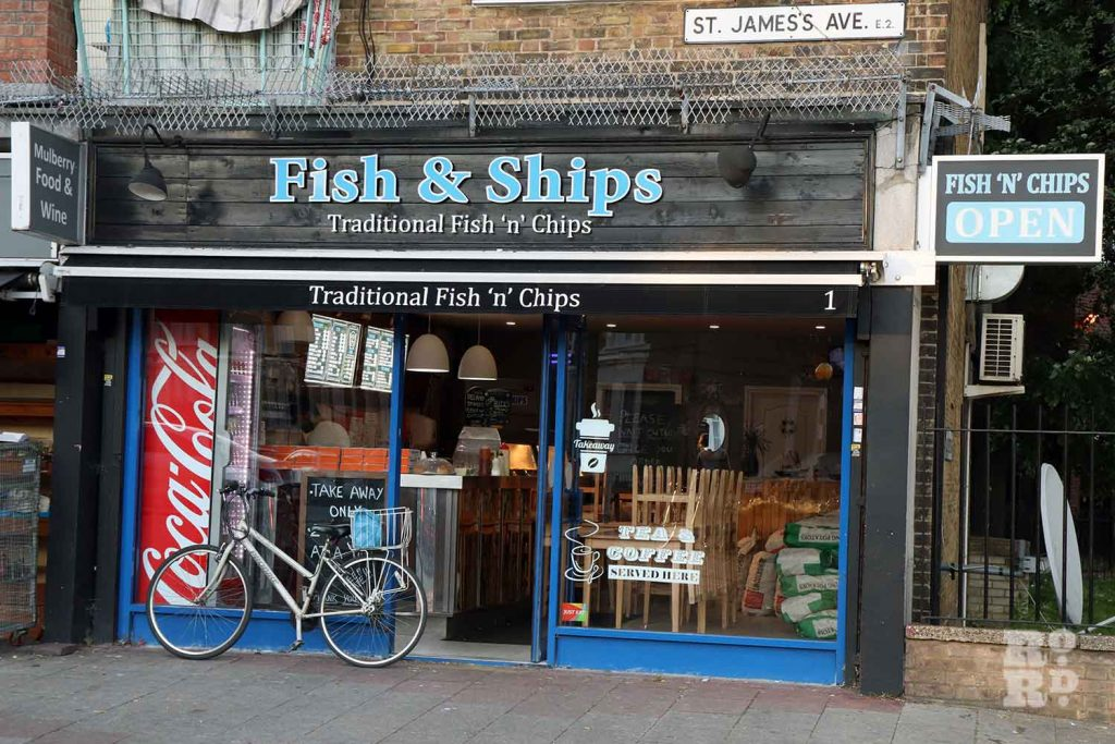 Fish and Ships, off Old Ford Road and Bonner Road, East London