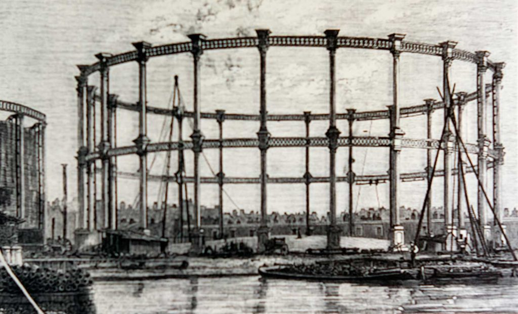 The Bethnal Green gasholders on Regents Canal, 1858.