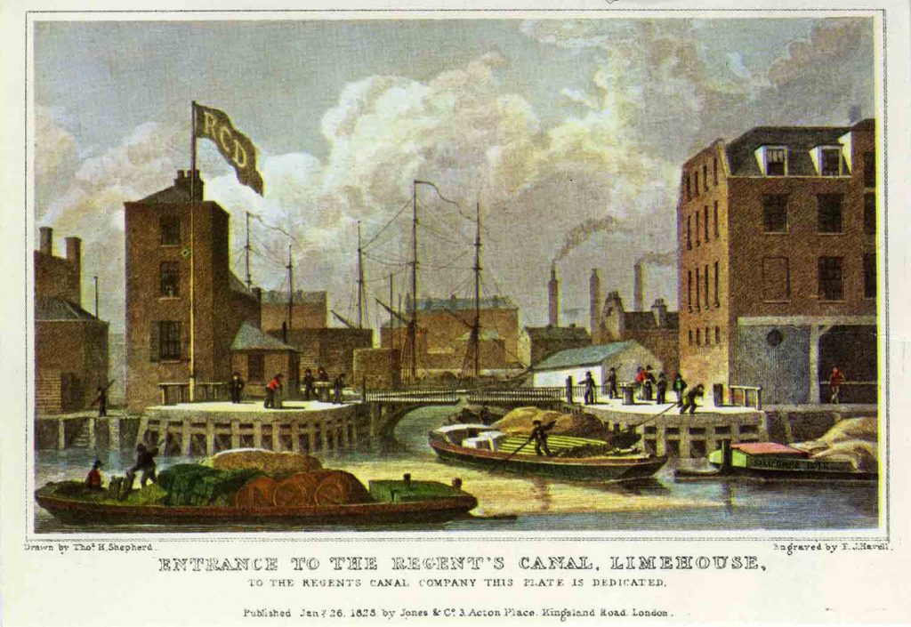Old postcard of the entrance from the River Thames to Limehouse Basin, 1828