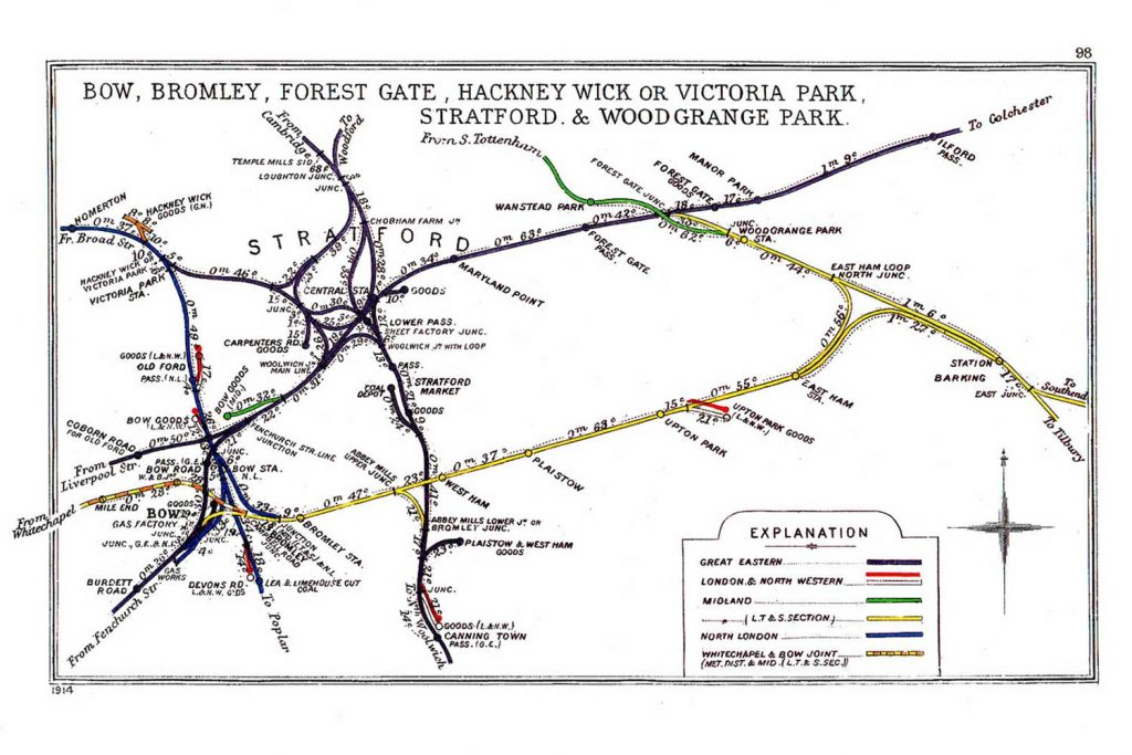 Map of Bow Road Station lines, 1914
