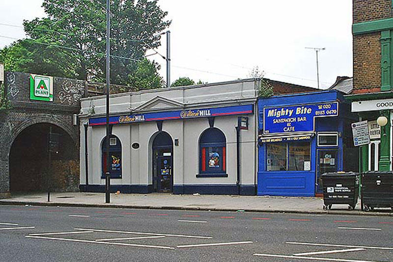 Street level, Bow Road Station, when it was William Hill, 2008