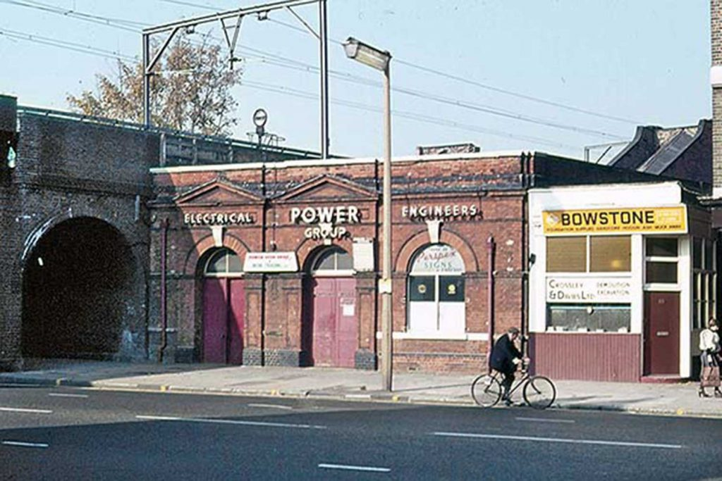 Street level, Bow Road Station, when it was Power Group, 1975
