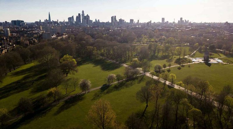 Victoria Park in the distance. Aerial shot of Victoria Park, photographs of Bow in lockdown by Matt Payne