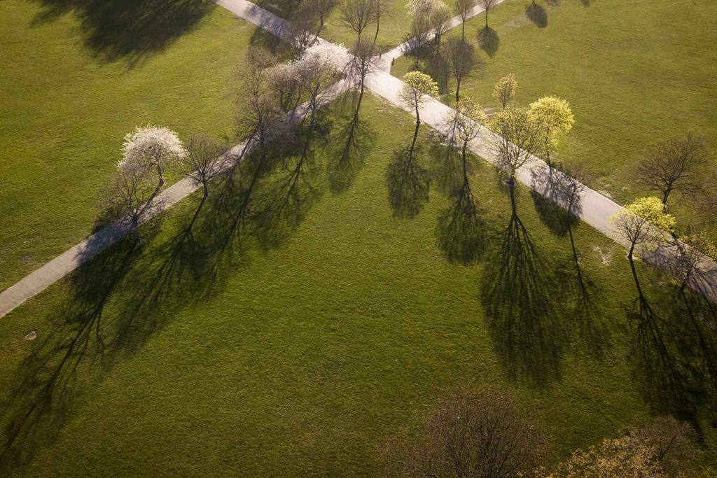 Aerial shot of Victoria Park, photographs of Bow in lockdown by Matt Payne