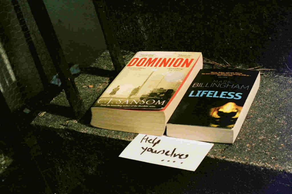Covid19 Book Swap books left on doorstep Neighbourly lockdown photo essay©Jamie Sinclair
