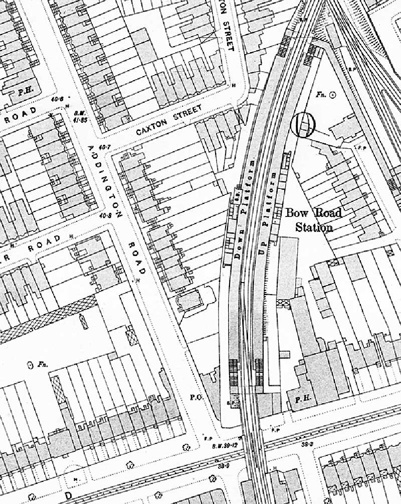 Map showing layout of Bow Road Station, OS Town Plan 1895