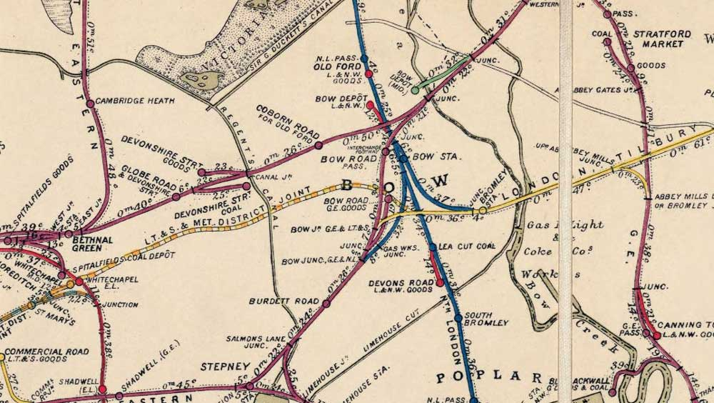 Official Railway Map of the Whitechapel and Bow Railway in 1899