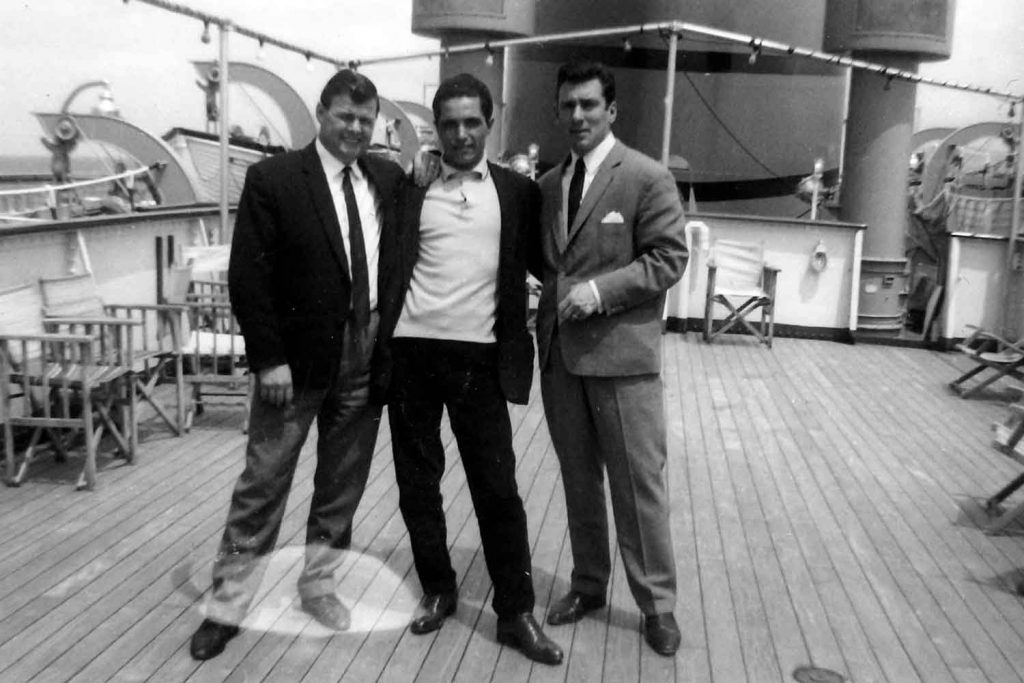 Reggie Kray with Jonny Squibb on a boat to Morocco