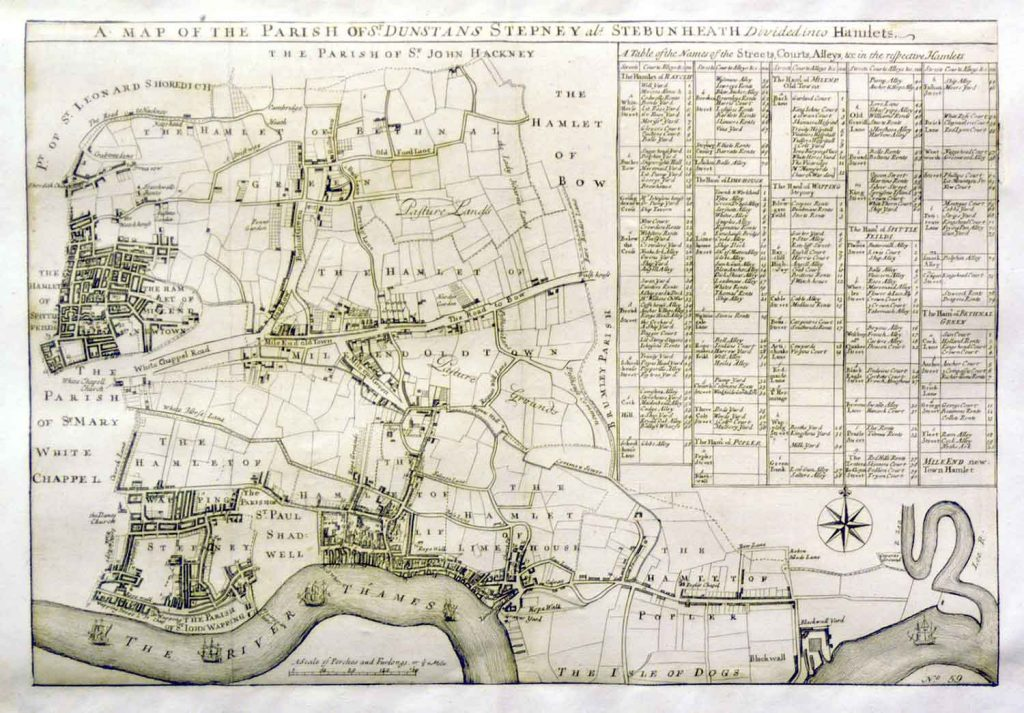 Map of Parish of Stepney from 1720