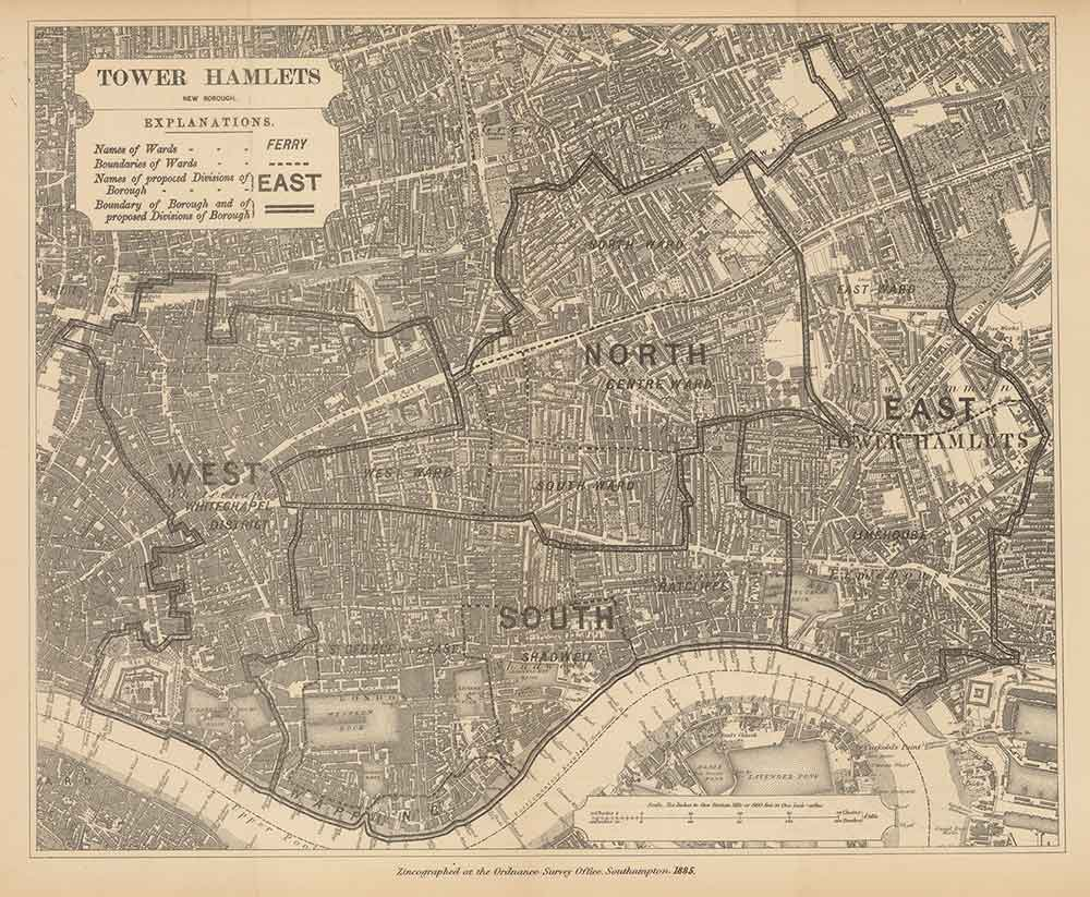 1885 map of Tower Hamlets north, east, south and west