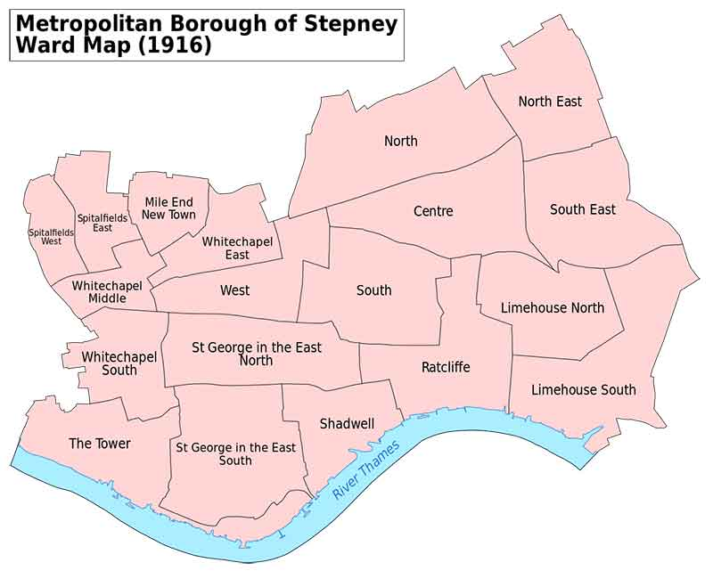 1916 map of Stepney and its wards