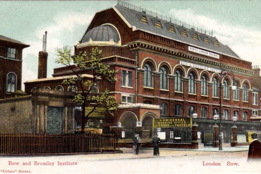 Coloured Postcard from 1907 for the Bow and Bromley Institute