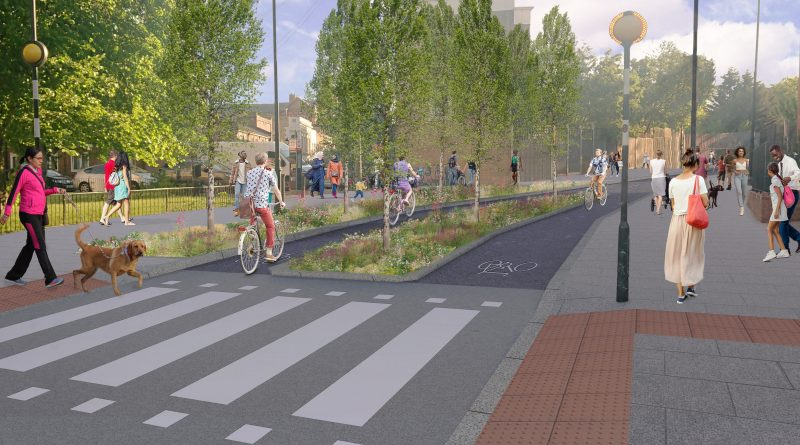 CGI image of Old Ford road for one of the schemes proposed by the council's Liveable Streets programme.