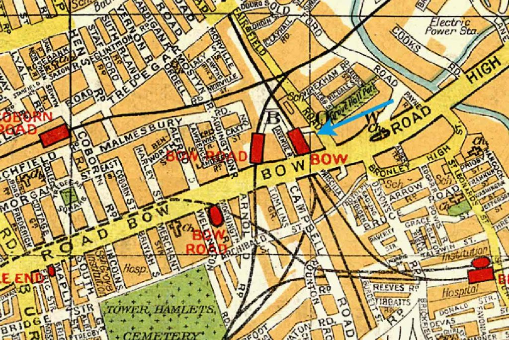 Coloured map showing Bow Station and Bow Road station
