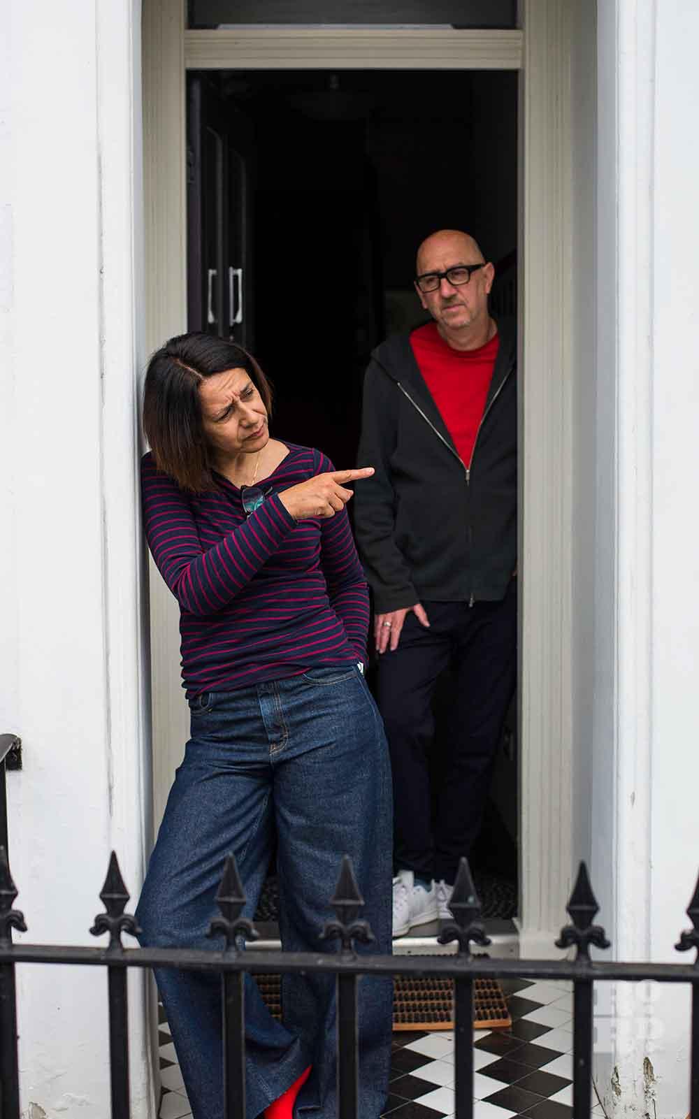 Husband and wife on their doorstep environmental portraits by Matt Payne