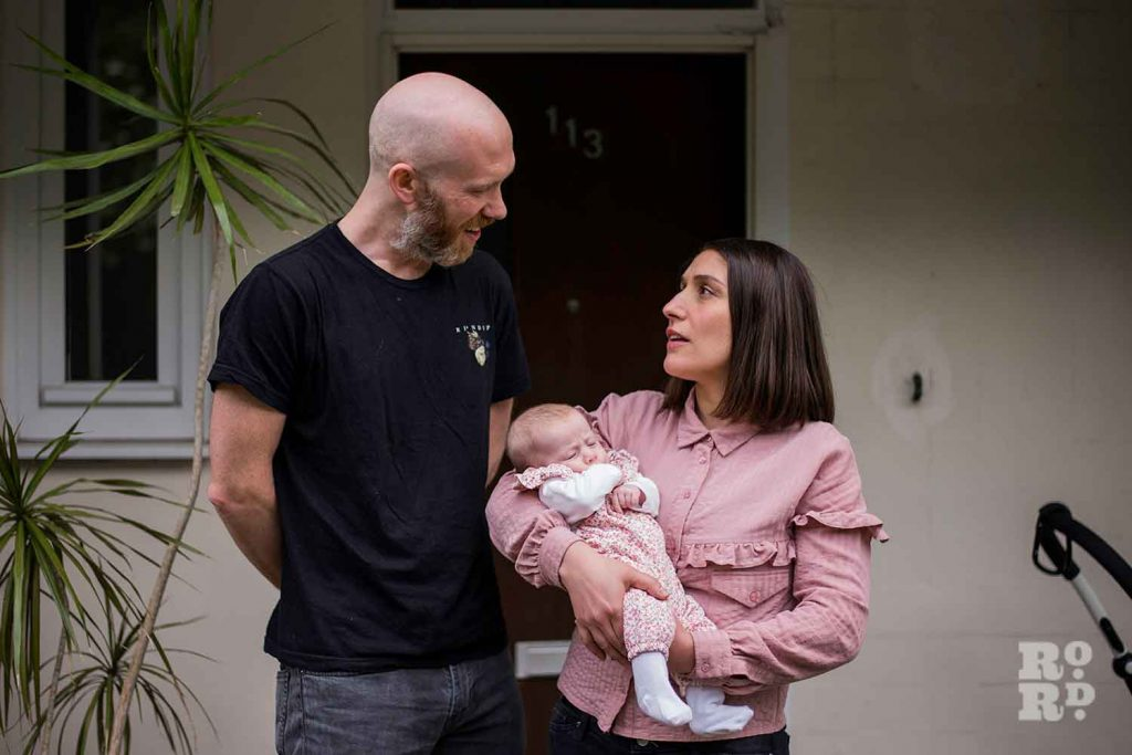 couple with baby environmental portraits Matt Payne