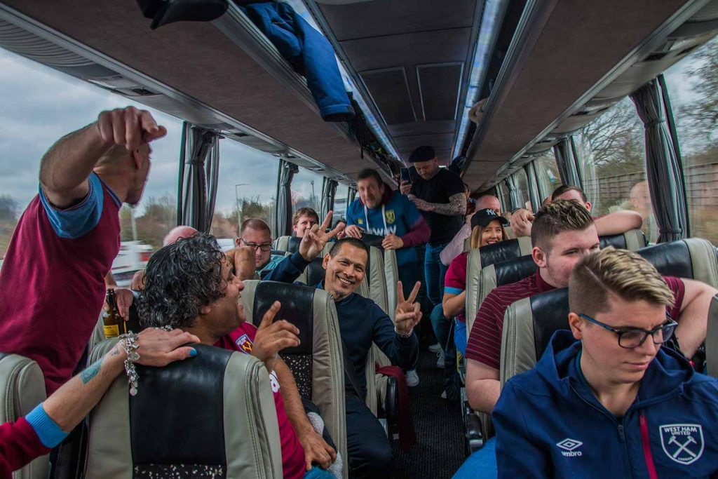 West Ham fans in the bus on the way to the game, Faces of West Ham, photos by José da Luz