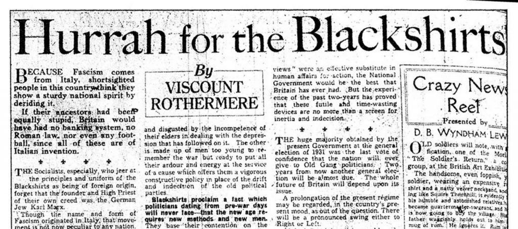 Daily Mail article supporting Blackshirts in Mile End Pogrom