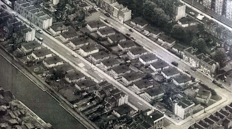 Rows of pre-fab buildings in Mile End Park, London, where the Eco Pavilion now stands