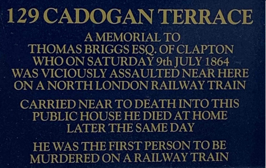 blue plaque 129 cadogan terrace first murder on a british train
