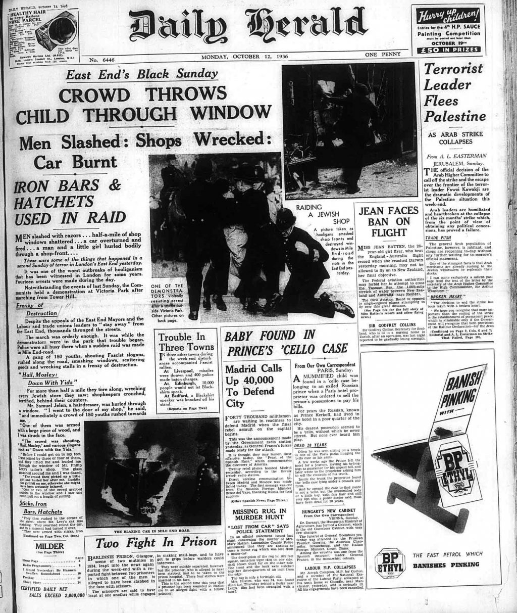 Daily Herald front page covering East End's black Sunday