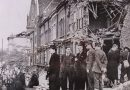 Mayor of Poplar inspecting Blitz damage, with St Barnabus Church in the background, 1942