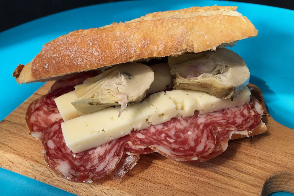 Italian deli sandwich lunch at Quarantacinque on Roman Road, Bethnal Green